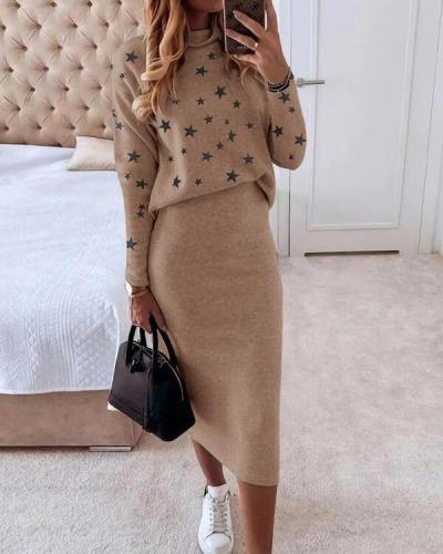Two-piece Casual Suit With Star Print Blouse And Trousers