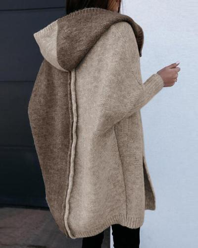 Loose Mid-length Hooded Sweater Coat