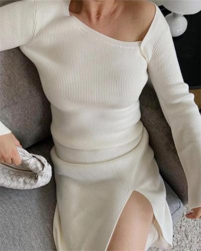 Two-piece Long-sleeved Diagonal Collar Top with Slits