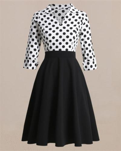 Vintage Dress Hepburn Style Retro Wave Point