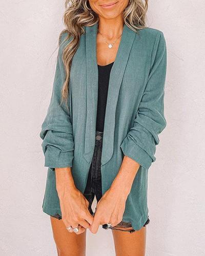 Plus Size Rolled Sleeve Simple Shawl Neck Blazer with Pocket