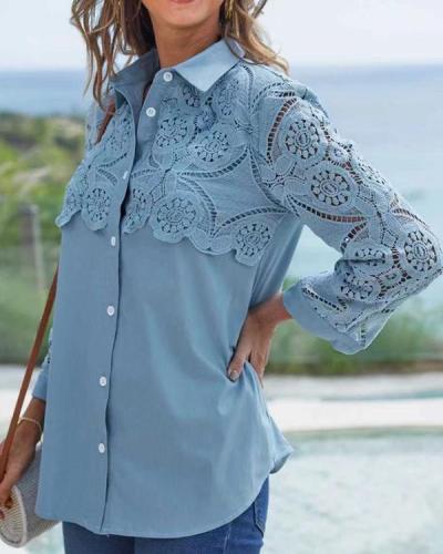Fashion Lace Stitching Long-sleeved Shirt