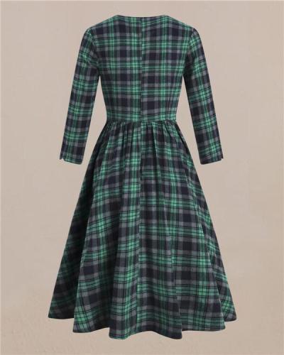 Retro-inspired Green-grey British Deep V-neck Tunic Dress
