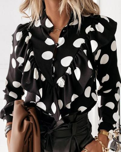 Polka Dot Print Ruffled Long-sleeved Shirt