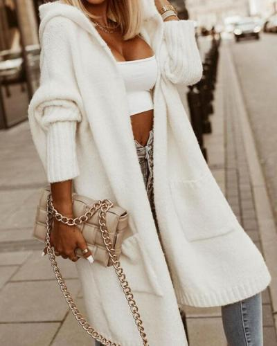 Casual Hooded Print Long Knit Sweater cardigan with Pockets