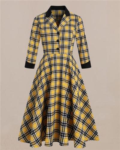 Retro British Plaid Suit with Big Fluffy Dress