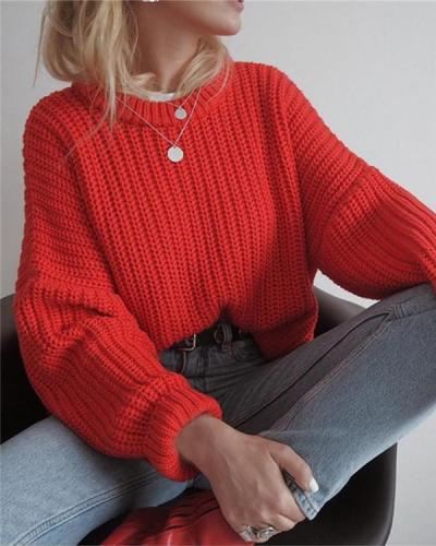 Round Neck Pullover Solid Color Loose Sweater