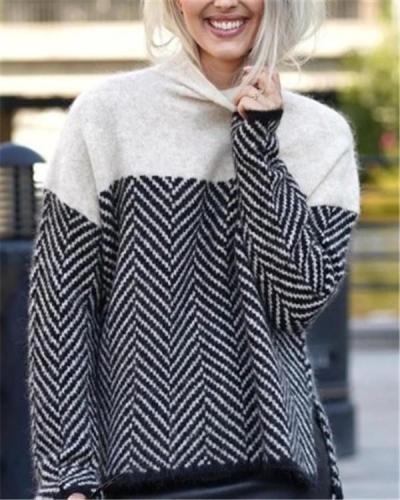 Temperament High Neck Striped Sweater