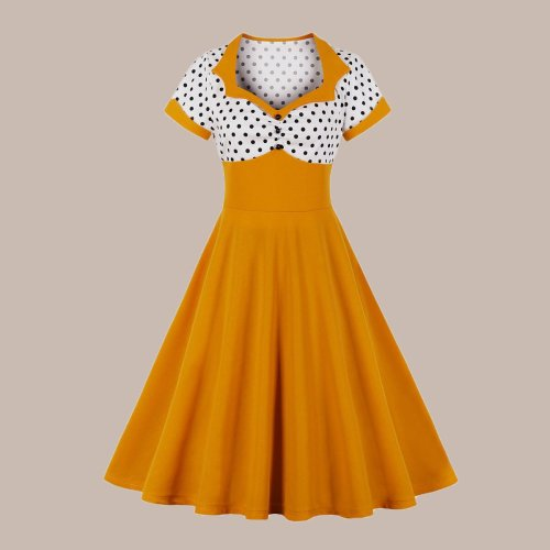 Hepburn Polka Dot Square Collar Retro Dress