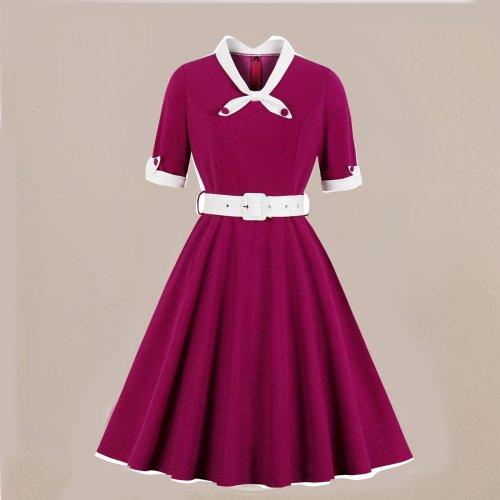 V-neck Slim Stitching Big Dress