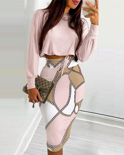 Round Neck Long Sleeve Crop Top And Drawstring Skirt Suit