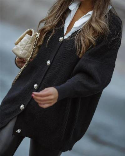 Casual Simple Black Button Front Cardigan