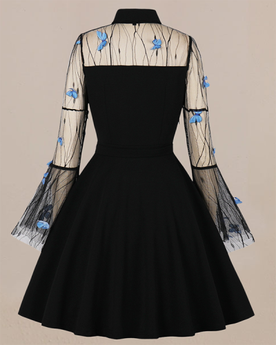 Embroidered Patchwork Retro Dress