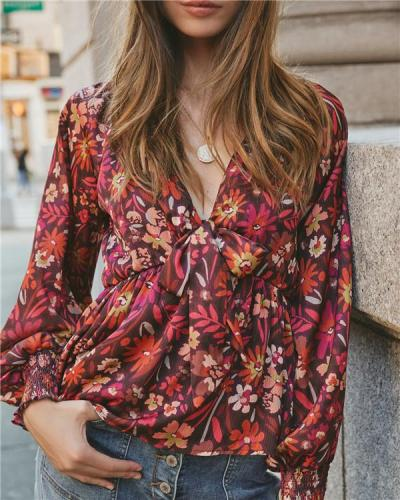 V-neck Print Sexy Long-sleeved Top