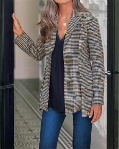 Retro Suit Collar Plaid Suit Jacket
