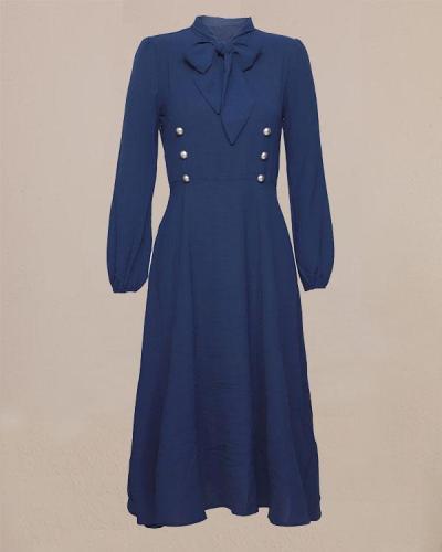 Navy Blue Hepburn Style Bow Tie Medieval Retro Midi Dress