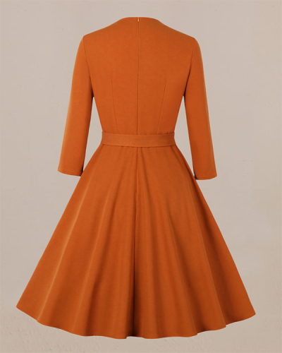 Elegant Retro Big Swing Solid Color Dress