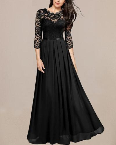 Elegant Lace Patchwork Evening Party Dress Long Sleeve Prom Maxi Dress