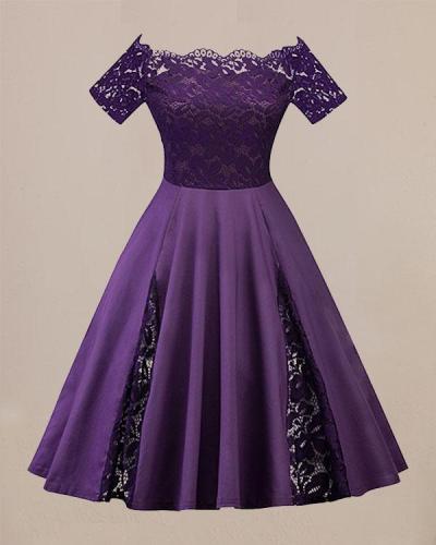 Plus Size Fit Flare Dress Off Shoulder Party Lace Dess
