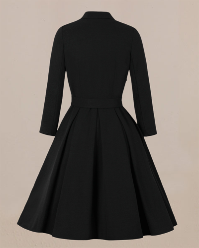Lapel Contrast Color Slim Long-sleeved Dress