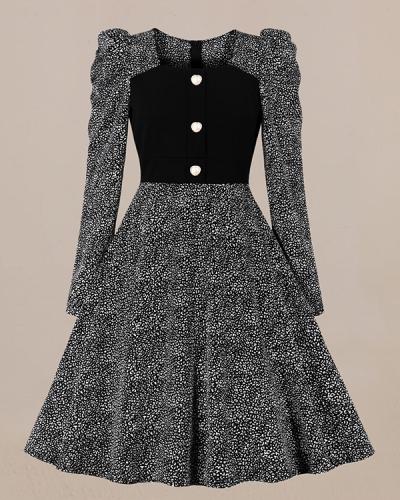 Chiffon Print Retro Dress