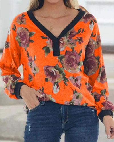 V-neck Flora Casual Comfy Leisure Long-sleeved Top