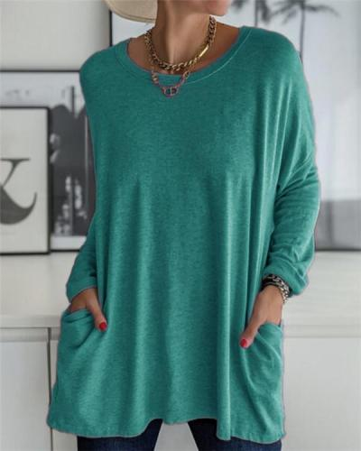 Round Neck Loose Solid Color T-shirt Casual
