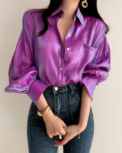 Fashion Button Lapel Long Sleeve Top