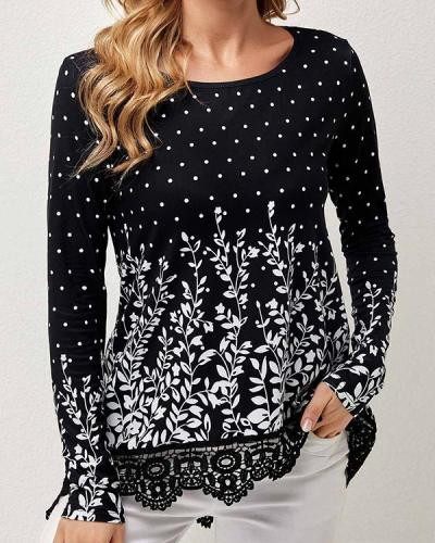 Lace Stitching Print Loose Long Sleeve Top