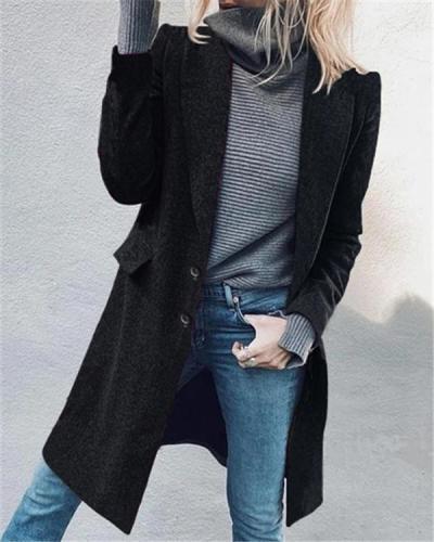 Fashion Lapel Mid-length Solid Color Coat