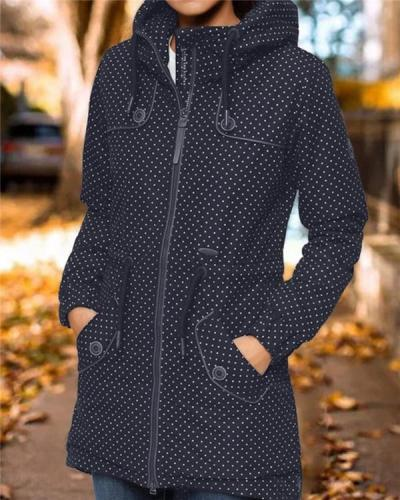 Dot Print Hoodie Jacket