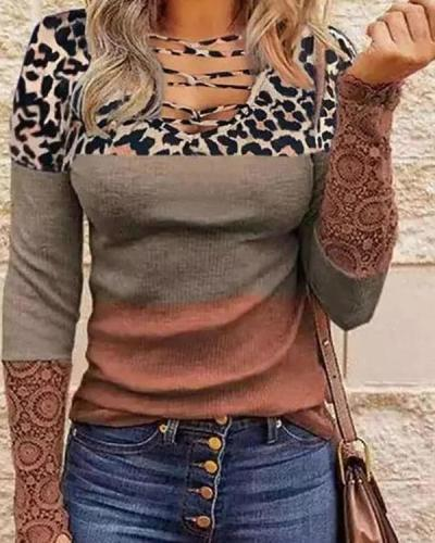 Lace Long-sleeved V-neck Printed Women's T-shirt