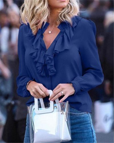 Pure Color Ruffled V-neck Pullover Chiffon Shirt