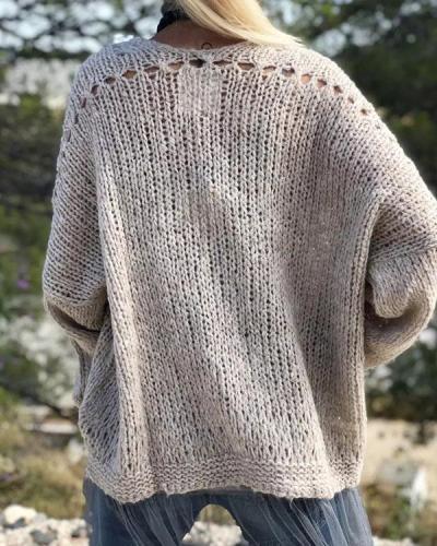 Vintage Casual Hollow Crotchet Plain Knit Sweater Cardigan