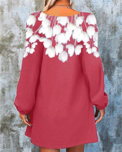 White Printed Solid Color Pullover Dress