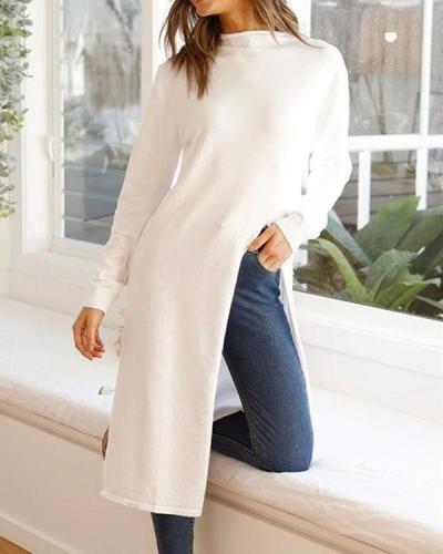 Fashion Crew Neck Knee Length Solid Color Slit Tops