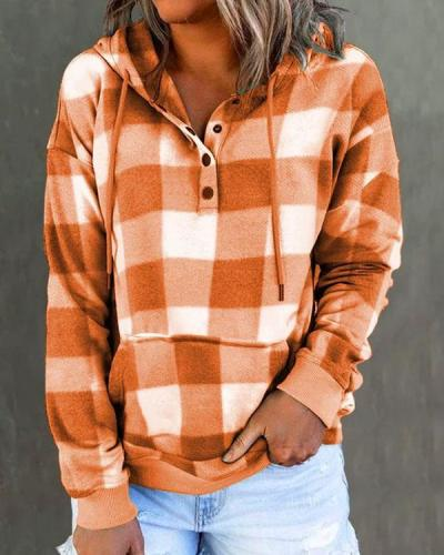 Checkerboard Contrast Print Pocket Hoodie Pullover Sweatshirt
