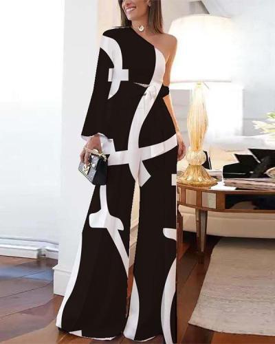 Fashion One-shoulder Printed Women's Jumpsuit