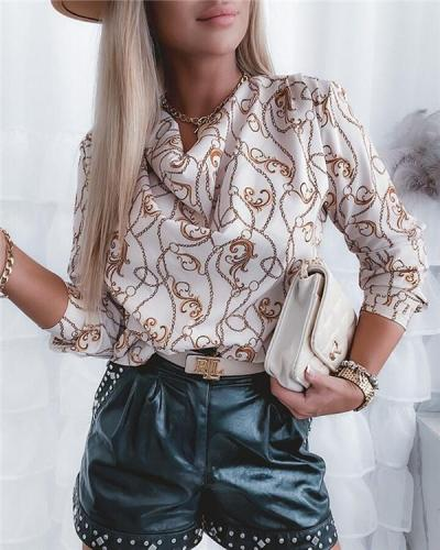 Printed Long Sleeve Bottom Shirt