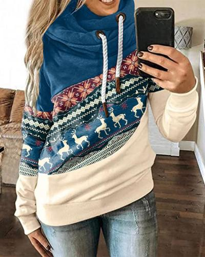 Christmas Contrast Stitching Hoodie
