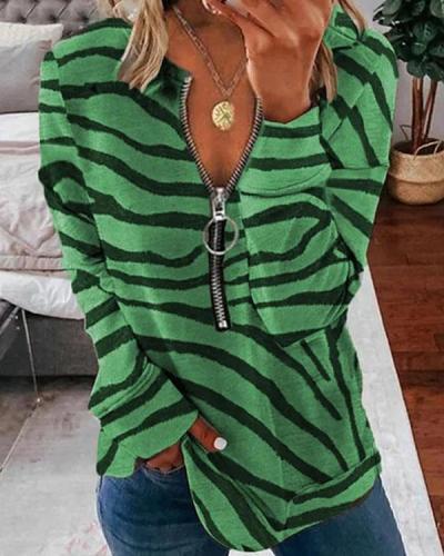 Casual Basic Zebra Print Zipper Long-sleeved Sweatshirt