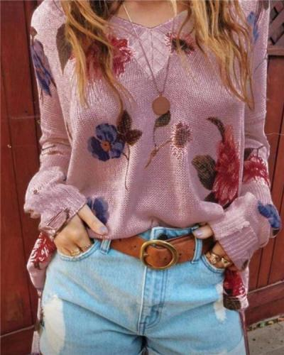 Patterned V-neck Blouse with Long Sleeves