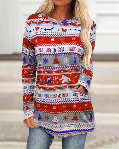 Christmas Loose Long-sleeved Printed Top