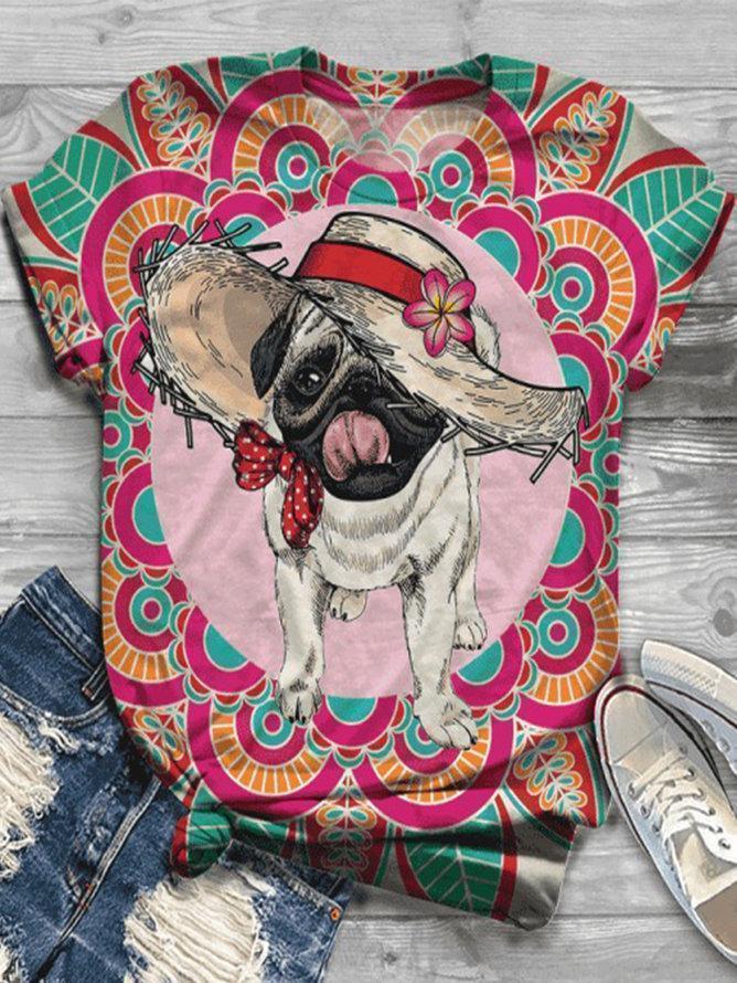 Colorful Dog Printed Vintage Short Sleeve Crew Neck Shirts & Tops