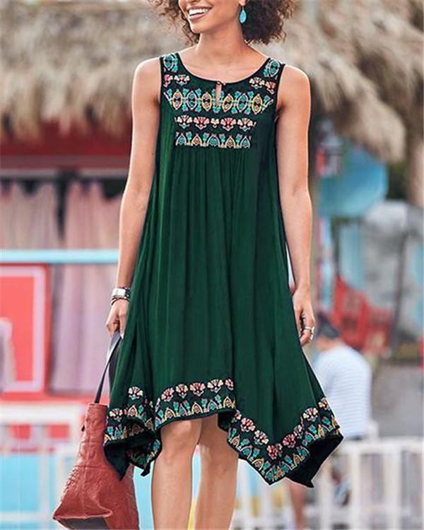 Bohemian Sleeveless V Neck Mini Dress