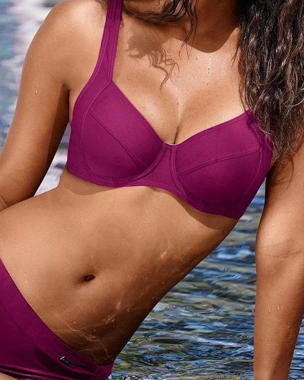 Modern Solid Color Bikini Swimwear