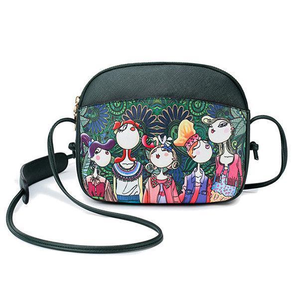 Women Forest Print Shell Crossbody Bag PU Leather Shoulder Bag