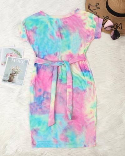 Tie Dye Pocket Tie Mini Dress without Necklace