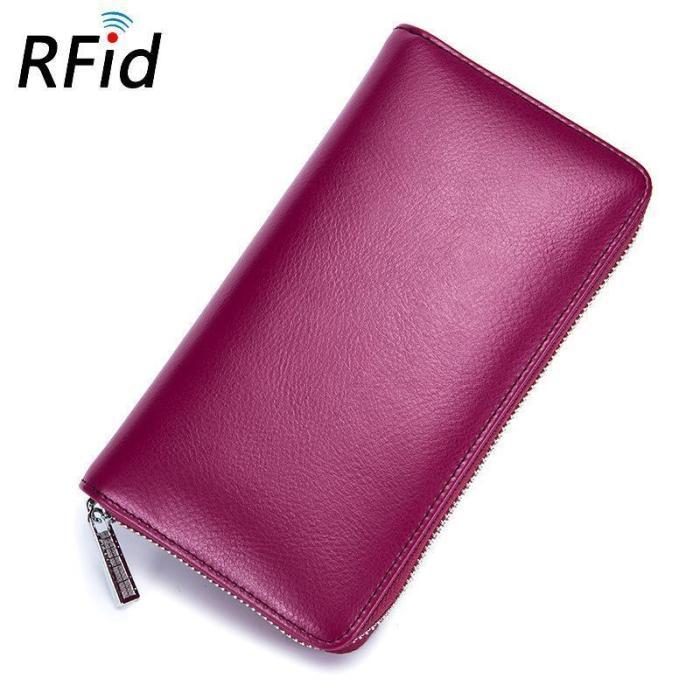 RFID Genuine Leather 36 Card Slots Long Wallet