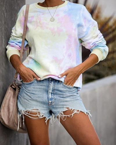 Long Sleeve Tie Dye Print Sweatshirt